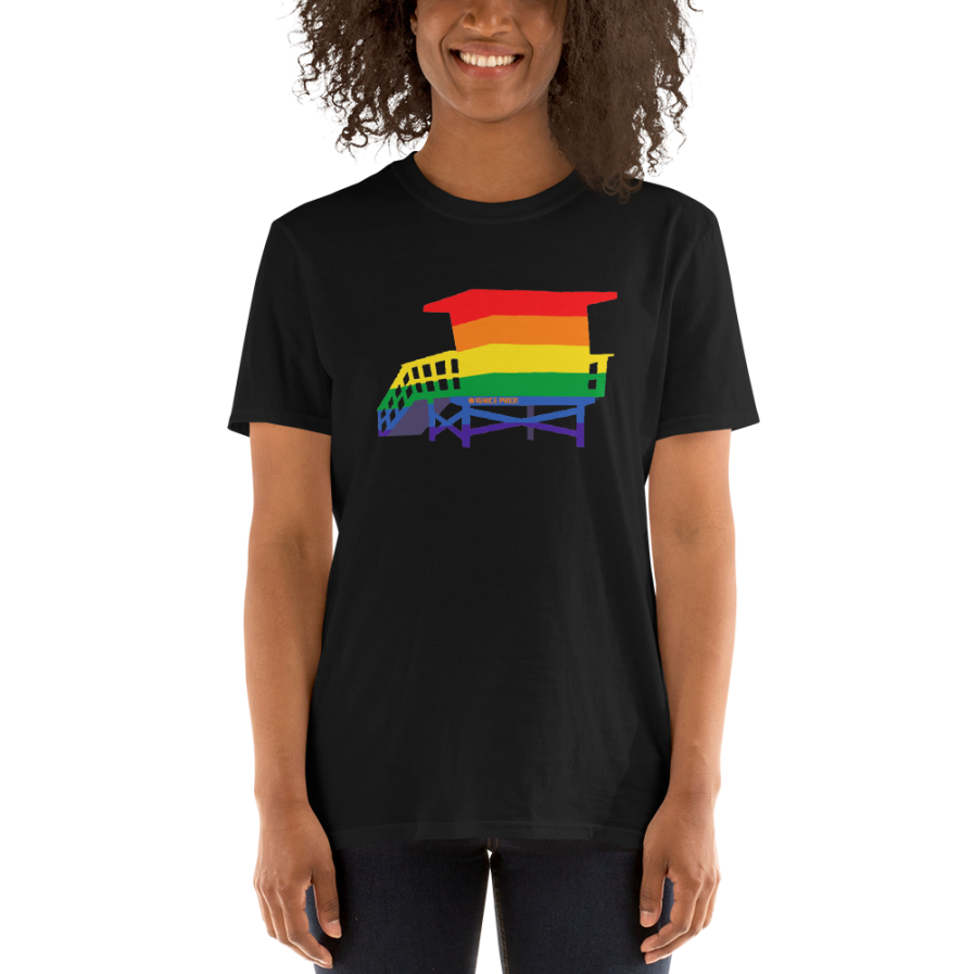 Venice Pride Flag Lifeguard Tower T-Shirt