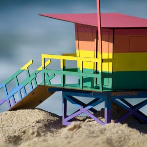 Limited Edition Venice Pride Flag Lifeguard Tower signed and numbered by Venice Pride Founder Grant Turck