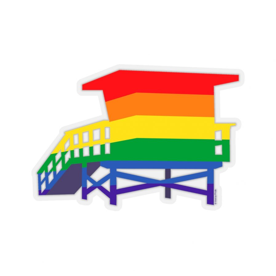 Venice Pride Flag Lifeguard Tower Kiss Cut Sticker
