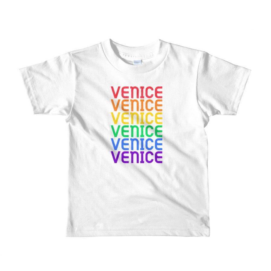 Venice Pride Rainbow Short Sleeve Kids T-Shirt mockup