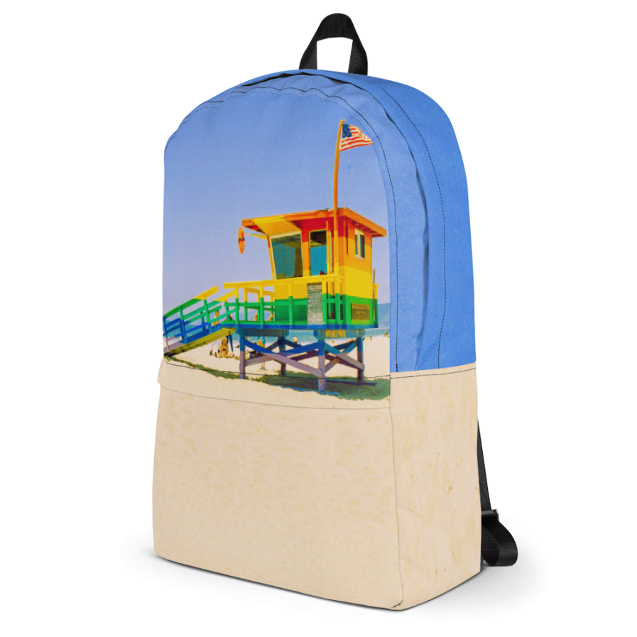 Venice Pride Flag Lifeguard Tower Backpack