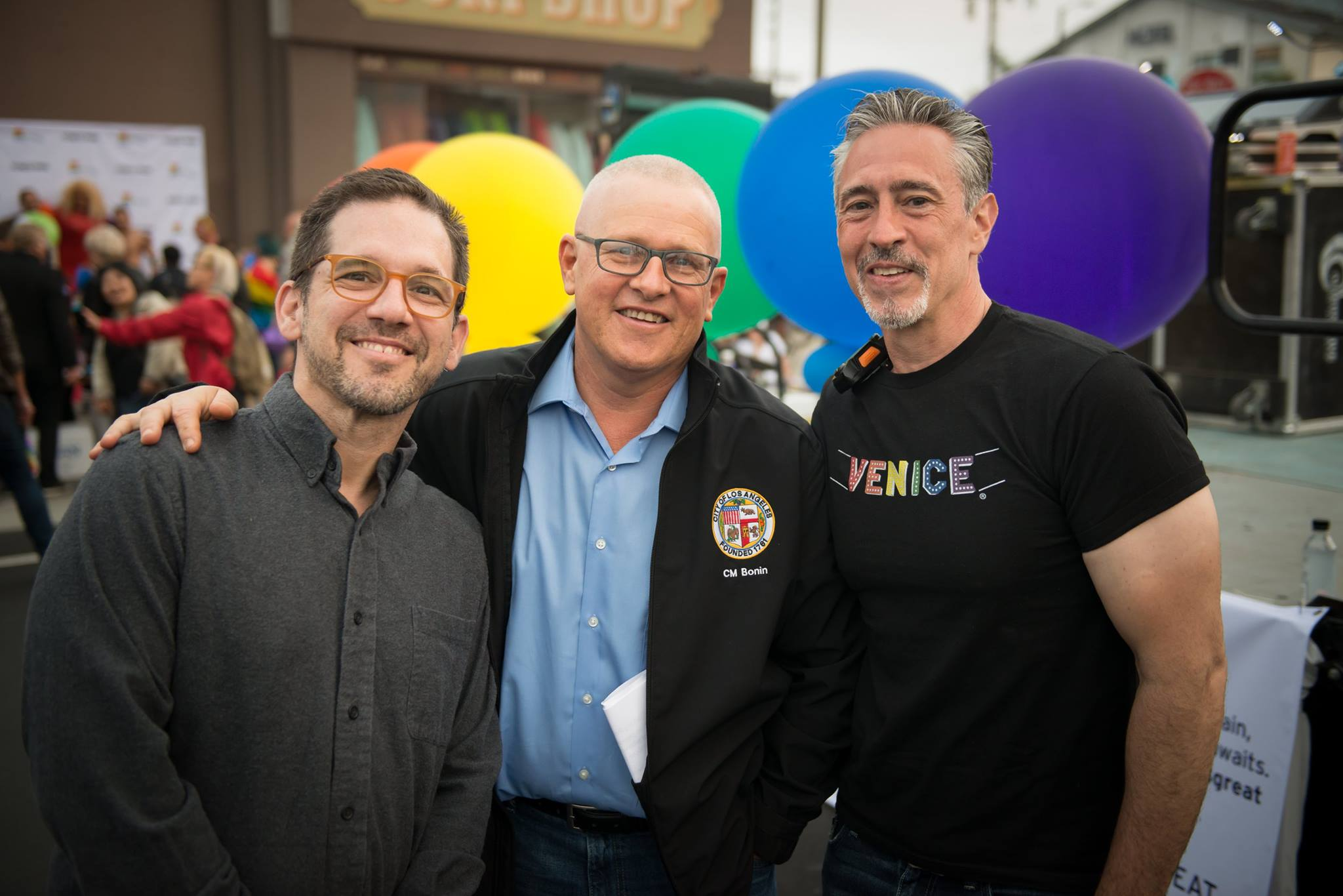 George Francisco, Mike Bonin and Bonin's Husband at Venice Pride 2017