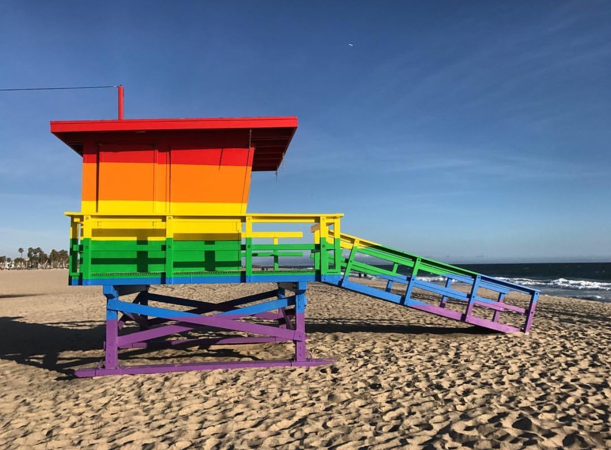 Venice Pride Flag Lifeguard Tower
