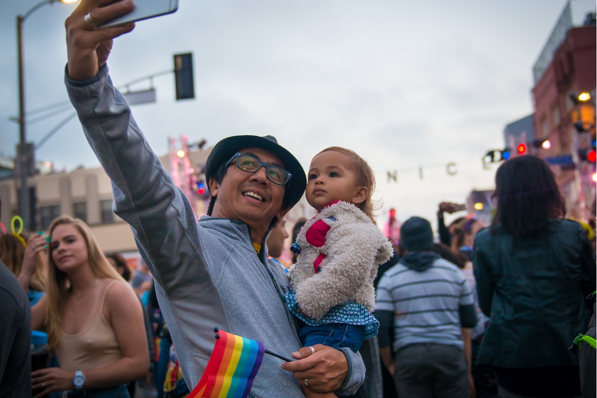 Father takes selfie with daughter at Venice Pride 2017