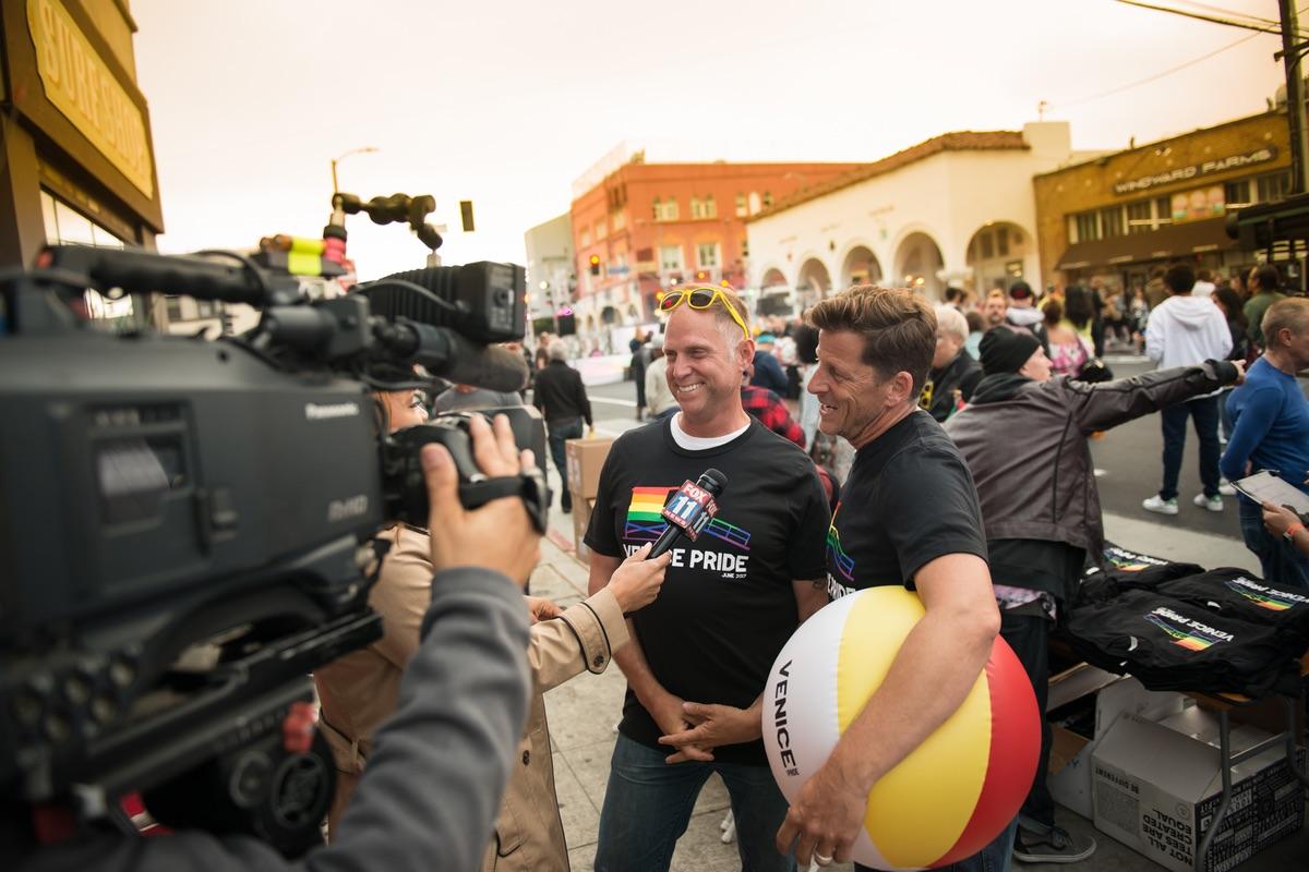 Venice Pride board members speak with the media at Venice Pride 2017
