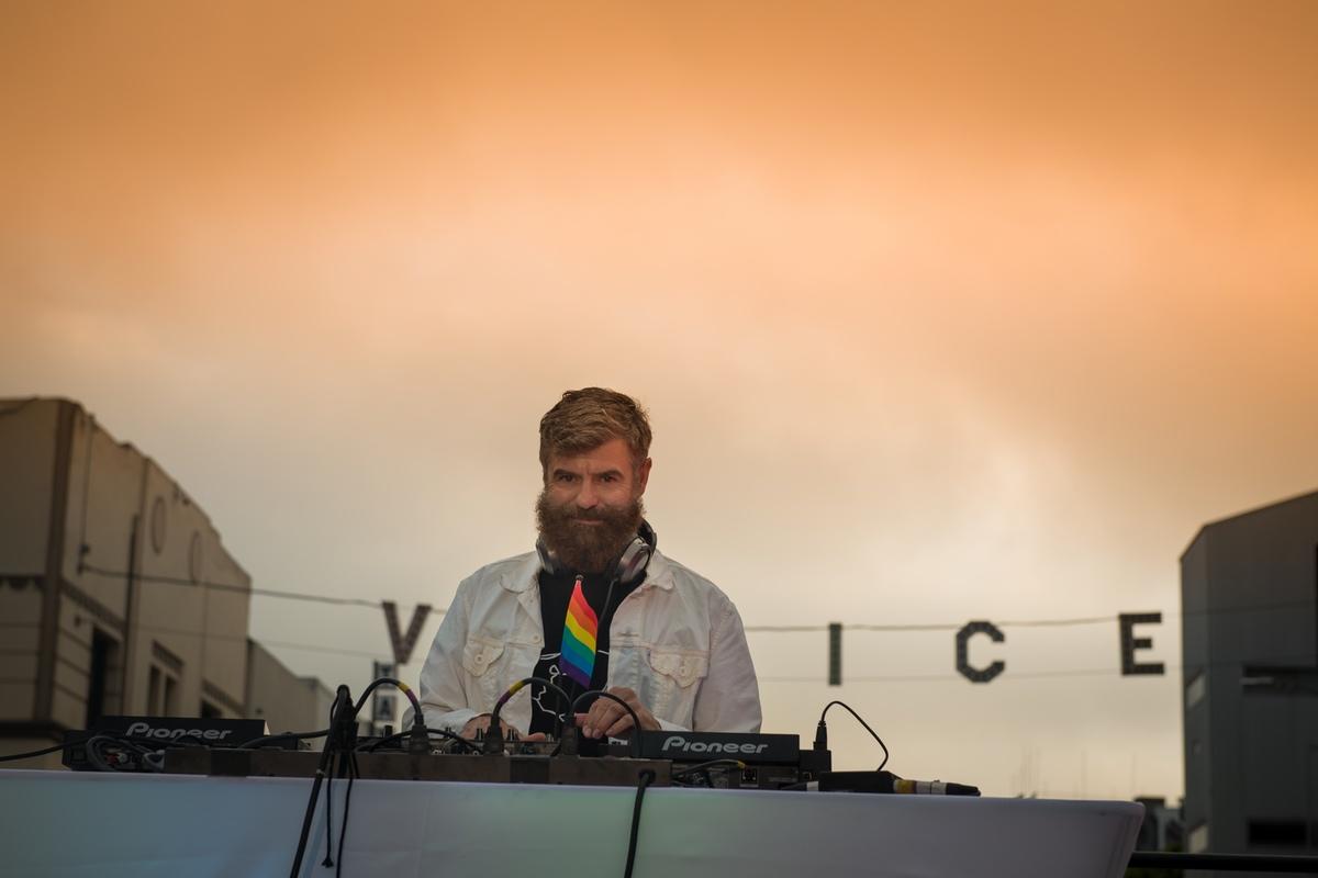DJ Victor Rodriguez spinning beats at Venice Pride 2017